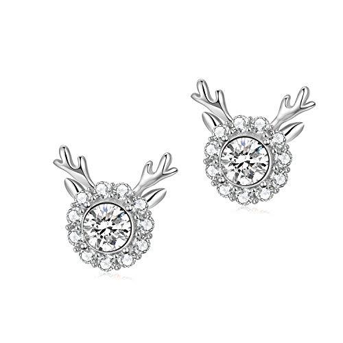 Reindeer Earrings Sterling Silver Christmas Stud Earrings, Jewellery Gifts for Women Girls (Sterling Silver)