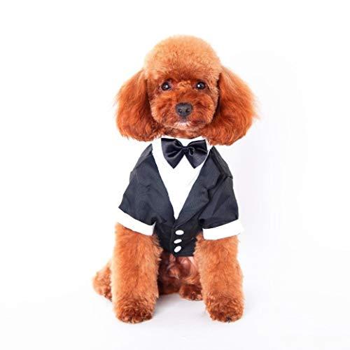 AMURAO Hundeshirt Haustiere Kleidung Herren Brautkleider Teddy Dog Vest mit Bow-Knot Dog Short Sleeve
