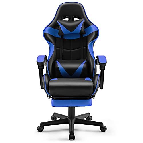 Soontrans Sedia Gaming con Poggiapiedi Sedia da Ufficio Economica Poltrona Gaming Girevole con Poggiatesta e Cuscino Lombare (Blu)