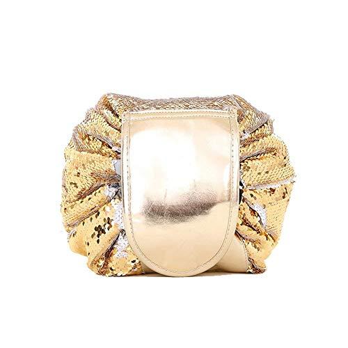 Arpoador Sac cosmétique portable de haute qualité pliable de rangement cosmétique (doré sirène)