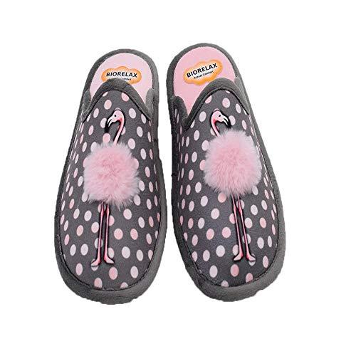 BIORELAX - Zapatillas COSDAM Biorelax Flamenco Gris 4519 Lona Mujer Color: Gris Talla: 37
