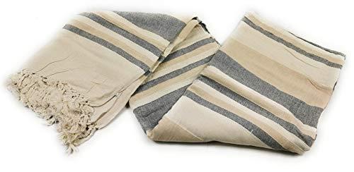 Aga's Own Indische Tagesdecke XXL Sofaüberwurf Bettüberwurf Wohndecke Indien/India Baumwolle Decke 220x250 cm VIELE Varianten (Beige-Braun)