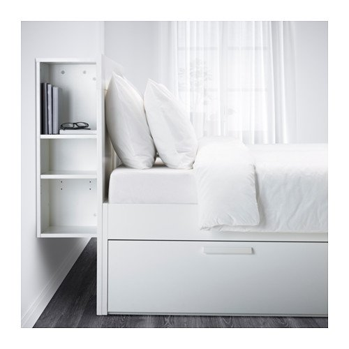 Ikea Full size Bed frame with storage & headboard, white, Luröy 10386.82920.24