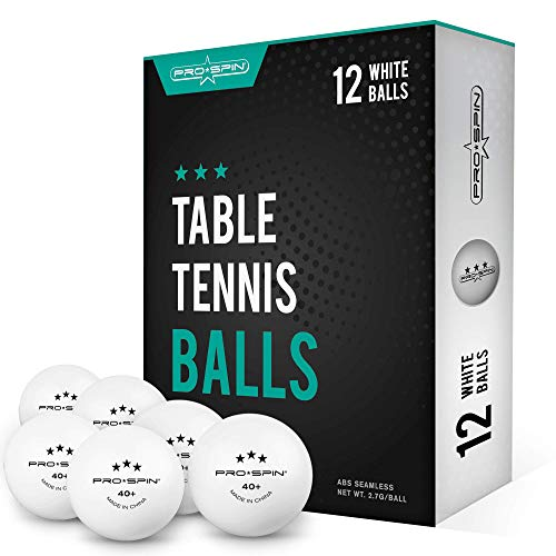 PRO SPIN Ping Pong Balls - White 3-Star 40+ Table Tennis Balls (Pack of 12) | High-Performance ABS Training Balls | Ultimate Durability for Indoor / Outdoor Ping Pong Tables, Competitions, Games