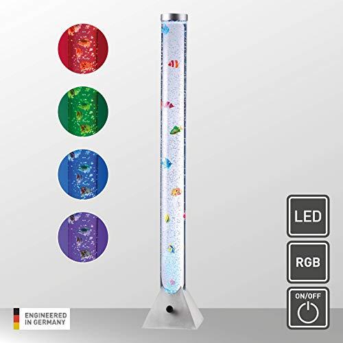 LeuchtenDirekt LED Wassersäule, 120 x 21cmØ | LED Wasser-Sprudelsäule mit 10 bunten Fischen und RGB-Farbwechsel aus Stahl | Dekoleuchte mit Luftbläschen-Regulation über Schnurschalter, 7L