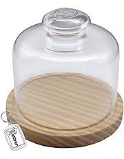 Quesera Redonda con Tapa de Cristal – Caja Queso Base de Madera – Ideal para Conservar Frescos Tus Quesos - Diámetro Ø 15cm