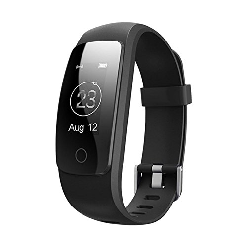 """SFTRANS Smart Bracelet, Bluetooth 4.0 Heart Rate Monitor with 0.96"""" Panel, Pedometer, GPS & Auto Sleep Tracking, Best Fitness Tracker for iPhone 7/6S/SE, Ipad, Samsung Galaxy S8/S7/Edge (Black)"""