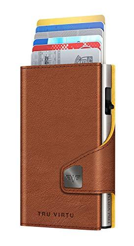 Tru Virtu® Click & Slide Natural Brown-Yellow/Silver - Tarjetero con ranura de aluminio y piel para hombre y mujer, 9,9 x 6,7 x 2,1 cm