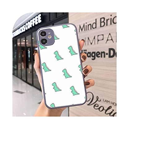 Funda del teléfono para el iPhone 12 11 Mini Pro XR XS Max 7 8 Plus X lindo dibujos animados pequeño dinosaurio mate transparente gris contraporta-a9-Para iPhone11pro max