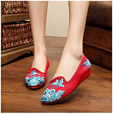 Women Plus Size 41 Hibiscus Embroidery Hasp Shoes Old Peking Mary Jane Soft Sole Casual Flats Dance Shoes