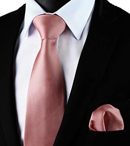 Enlision Corbata Rosa Color Solido y bolsillo cuadrado corbata conjunto para hombres