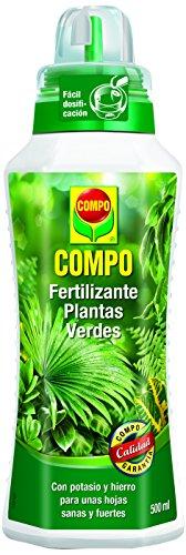 Compo 500 ml Verdes para Plantas de Interior, balcón y terraza, Fertilizante líquido con Extra de potasio y Hierro