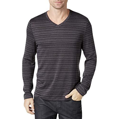 Alfani Ebony Gray Men's V-Neck Striped Sweater