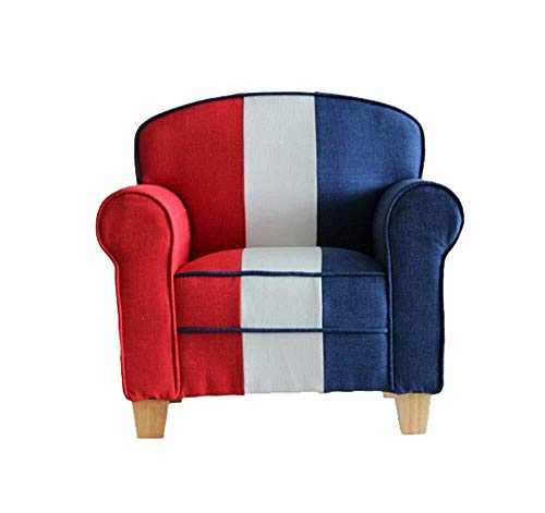 ZYL-YL Children Upholstered Chair Roundy Child Size Chair with Microsuede Ottoman Red and White Bule Toddler Lounge Bed