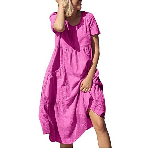 Forthery Women Plus Size Tunic Dress Summer Cotton Linen T Shirt Knee-Length Tunic Tops Hi-Low Dresses(Hot Pink,XXL)