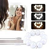 Luces de Espejo Maquillaje, Winzwon LED Lámpara de Espejo Cosmético de Tocador, Kit Luz Baño 3 Modos de Color y 10 Brillo, para Maquillarse, Baño, Carga USB(Sin Espejo)