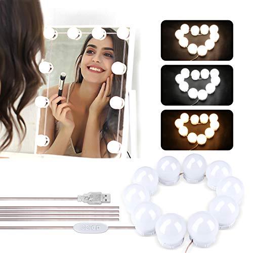 LED Spiegelleuchte, Winzwon Hollywood-Stil 10 Pcs Schminktisch Leuchte Schminklicht Spiegellampe Make-up Lampe Spiegel Lichter Set für Kosmetikspiegel, Schminktisch/Badzimmer Spiegel (Ohne Spiegel)