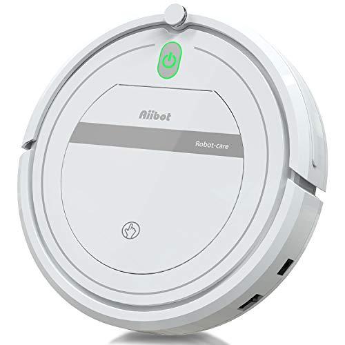 Aiibot Aspirateur Robot Slim Machine de Nettoyage à Aspiration Puissante, Efficace sur les Tapis, Moquettes et Sols Durs avec Télécommande, Nettoyage Automatique pour les Poils d'Animaux, Filtre HEPA