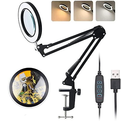 LED Lupenleuchte, Arbeitsplatzlampe, 5 Dioptrien Lupe mit Licht - mit Klemme, Schwenkarm, Dimmbar, 3 Farbmodi, 105-mm Glaslinse - Lupe zum Lesen, Basteln - 5-fache Vergrößerung