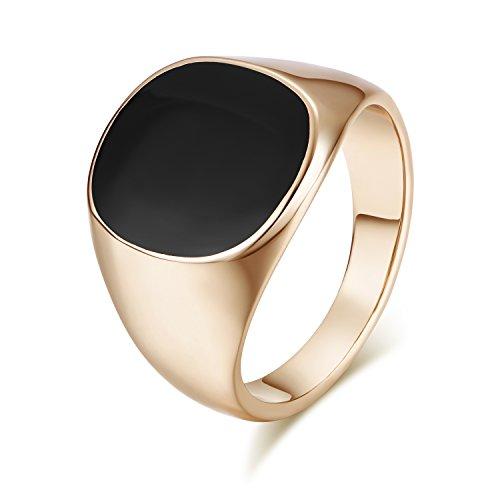 Yoursfs Ring Herren Schwarz Solitär Herr der Ringe Halo Plain Opal kleinen Fingerringe mit Stein 18K Gold Überzogene für Männer Geschenke