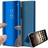 Caler Case Compatible con Samsung Galaxy S7 Edge Funda Cuero PU Espejo Brillante Clear View Modelo Fecha Duro Cover Flip Tapa Libro Soporte Plegable Ventana de Espejo Transparente Carcasa(Azul)