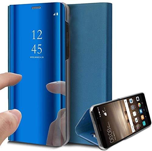 Funda Samsung Galaxy A6 Plus 2018,Flip Tapa Libro Carcasa - Modelo Fecha y Espejo Brillante tirón del Duro Case,Espejo Soporte Plegable en Reflectante (Azul)