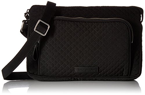 Vera Bradley Women's Microfiber Little Hipster Crossbody Purse with RFID Protection, Classic Black
