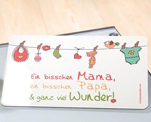 Gilde Brotbrett, Frühstücksbrettchen mit Sprichwort 'Ein bisschen Mama, ein bisschen Papa, & ganz viel Wunder !'