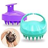 SENHAI 2 piezas Silicona Cepillo de champú para el cuidado del cuero cabelludo para todo tipo de cabello, Depurador de cabeza Masajeador de cuero cabelludo Peine de baño para mascotas -Verde Morado