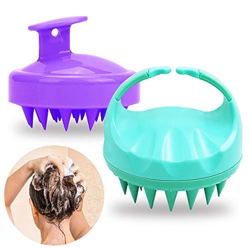 SENHAI 2 Stk Silikonkamm Haarbürste Scalp Care Massge Shampoo Pinsel für die Haarwurzelpflege, Gesunder Kopfwäscher Badender Haustierkamm, Nass und trocken-grün lila