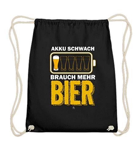EBENBLATT Lustig Bier Spruch Beer brauen Brauerei Alkohol Bierkrug Bierfass Geschenk Geschenkidee - Baumwoll Gymsac -37cm-46cm-Schwarz