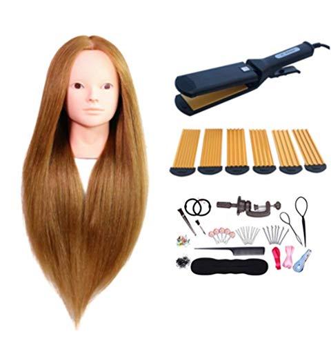 60cm Tête D'exercice Mannequin 90% De Vrais Cheveux Tête À Coiffurer Formation Mannequin Tete D'exercise A Coiffer +Titulaire,Gold2