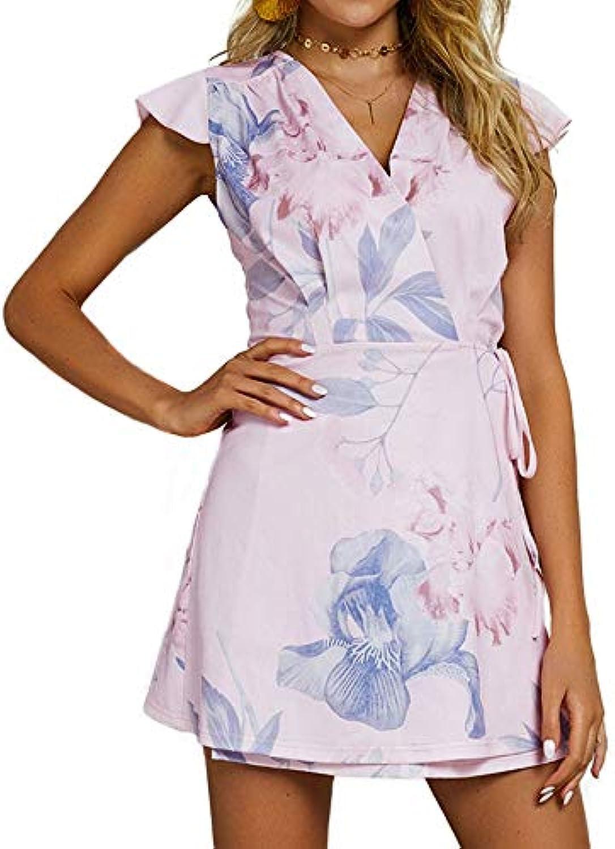 STLYQ New Floral Print Dress Women Dresses Pink Yellow V Neck Mini Short Beach Sundress Womens Casual Fashion Dresses