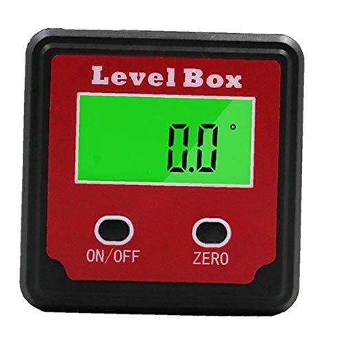 Aiyrchin Buscador de ángulo Digital del inclinómetro del prolongador Nivel Caja de plástico Rojo Negro de precisión Digital Caja de Bisel con el imán Base