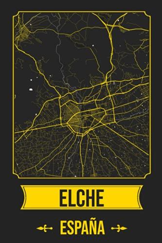ELCHE España Cuaderno: Squareious de la Ciudad de ELCHE, Hoja Forrada, Diario 200 PÁGINAS, 6x9