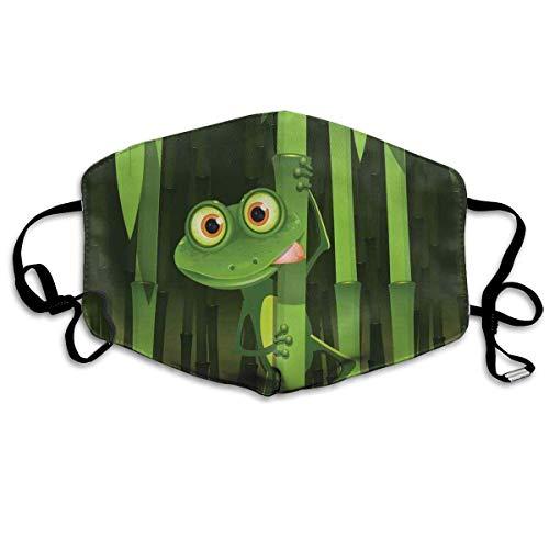 Mundschutz Atmungsaktive Gesichtsmundabdeckung Staubdichte lustige Illustration des freundlichen lustigen Frosches auf Stiel der Bambusdschungelbäume Netter Naturbilddruck, Gesichtsdekorationen