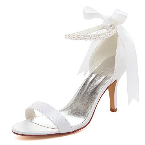 Elegantpark HP11053 Bequem High Heel Einfache Perlen-Riemchen Satin Brautschuhe Sandalen Weiß Gr.40