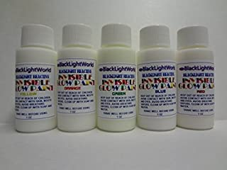 Invisible Black Light Paint 1oz 5 Pack - Blue, Orange, Green, Yellow, Red