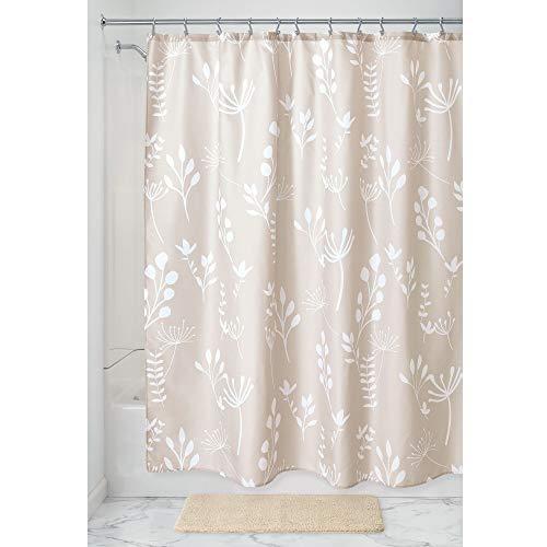 iDesign Isla Floral Duschvorhang, großer Badewannenvorhang aus Polyester, beige