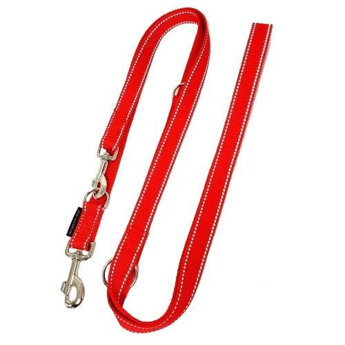 elropet Hundeleine Doppelleine Gurtband reflektierend 25mm 5,00m rot 5fach verstellbar für große und gräftige Hunde