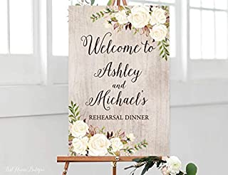 restore2a Rustic Rehearsal Dinner Welcome Sign, Rehearsal Dinner Welcome Welcome Poster, White Flowers, Printable Sign, Digital File