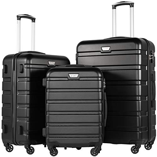 COOLIFE Suitcase Black Black Set