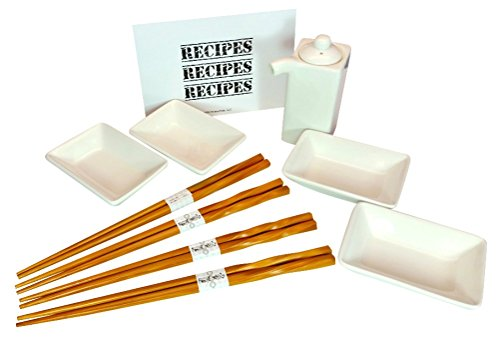 Sushi Dish Set, Soy Sauce Dispenser, Bamboo Chopsticks with Bonus Recipe Card