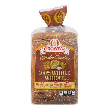 100% Whole Wheat Bread 24 oz. (pack of 4) A1
