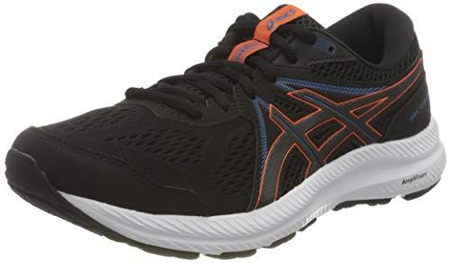 ASICS Herren Gel-Contend 7 Road Running Shoe, Black/Marigold Orange, 44.5 EU