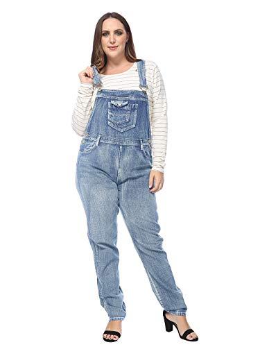 ANNA-KACI Damen Träger Vintage Latzhosen Jeanshosen Denim Overall Jumpsuit Groß Größe