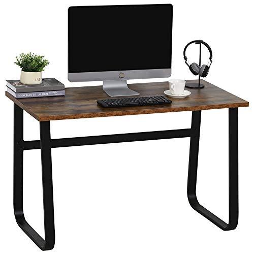 HOMCOM Schreibtisch, Computertisch, PC Tisch, Bürotisch,Industrie-Design, Spanplatte, Stahl, Braun 115 x 58 x 74,5 cm