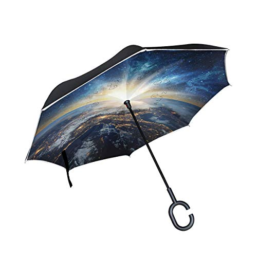 HYJDZKJY Double Layer Inverted Umbrella Autos Reverse Umbrella Erde Galaxy Space Winddicht UV Proof Reisen Outdoor Umbrella