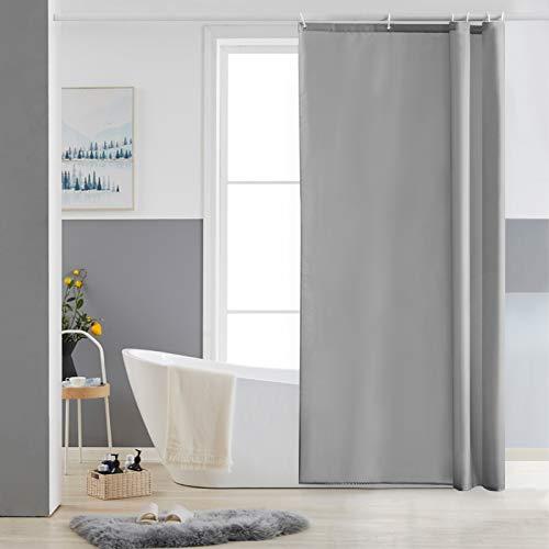Furlinic Schmaler Duschvorhang für Eck Dusche und Kleine Badewanne, Badvorhang Textil aus Polyester Stoff schimmelresistent Wasserabweisend und Waschbar, Grau 85x180 mit 6 Duschvorhangringen.