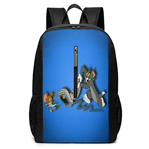 Tom and Jerry Cat and Mouse Backpacks 17 inch School Bag College Bags Laptop Backpack Large Capacity Backpack-(Black)